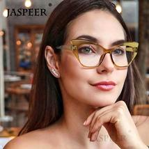 JASPEER  Retro Cat Eye Glasses Frame Women Brand Designer Vintage Eye Glasses Fr
