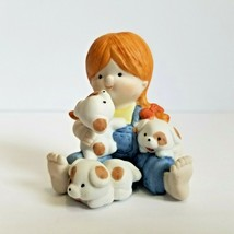 Vintage Enesco Country Cousins Figurine1987 Katie Girl with Puppies - $11.69