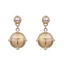 Classic Trendy Enamel Cross Simulated Pearl Drop Earrings Korea Style El... - $12.90