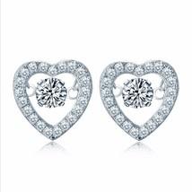1.50 Carats Dancing Diamond Halo Style Heart Earrings - $99.00
