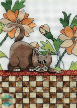 Design Works Cat Sitting On Brown Checkered Wall Cross Stitch Kit #DW2804 Kitty - $37.21