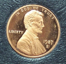 1987-S Proof Lincoln Memorial Penny #01134 - $3.39