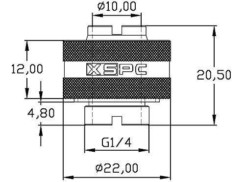 "XSPC G1/4"" to 7/16"" ID, 5/8"" OD Compression Fitting Black Chrome V2 - 4 pack"