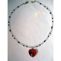 Bordeaux Heart Pendant with Crystal Strand image 3