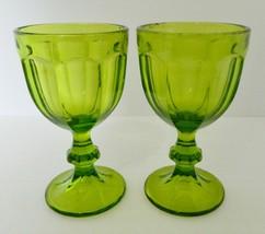 Libbey Gibraltar Duratuff Vintage Footed Goblets Wine Glasses Neon Green Two  - $21.66