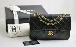 "CHANEL SMALL 9"" Vintage Black LAMBSKIN Leather ""AUTHENTICATED"" Flap Bag ... - €2.630,65 EUR"