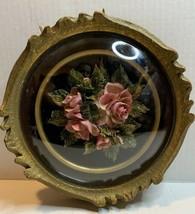 CAPODIMONTE Style Rose Flower Figurine Handmade Porcelain Framed 1923 OOAK - $163.63