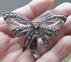 Vintage Avon Silver Marcasite Amethyst Rhinestone Birthstone Bow Brooch Pin - $9.49
