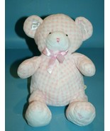 Animal Alley My 1st Teddy Bear Pink Checked Plush First Rattle Soft Baby... - $72.55