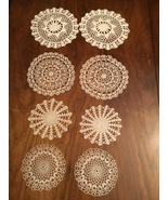 Vintage hand made crocheted Set of 8 doilies  - $20.00