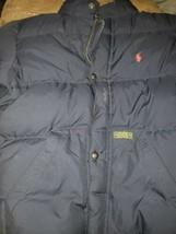 Ralph Lauren Polo Hooded Puffer Coat Boys Sz 7 Sport Blue Ski Bubble Jacket - $37.36