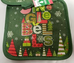 SET 2 Printed Kitchen Pot Holders,WINTER,CHRISTMAS GINGLE BELLS w/green ... - $7.91