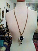 VINTAGE NECKLACE ITALIAN INTAGLIO GREY CUT TO BLACK W/ MATCHING EARRINGS... - $165.00