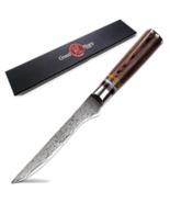 Japanese Boning Knife 5.5inch Damascus Pakkawood Butcher for Fillet and ... - $46.07