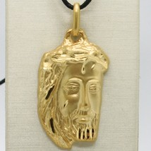 18K YELLOW GOLD JESUS FACE PENDANT CHARM 42 MM, 1.6 IN, FINELY WORKED ITALY MADE image 2