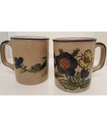 2 Pottery Ceramic Coffee Mug Set Glazed Hand Painted Design Butterfly Fl... - $19.79