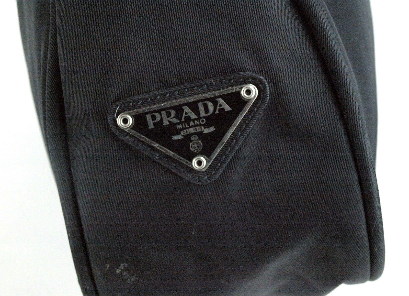 3f79b6af7d1f 100% Auth PRADA Milano Black Nylon Hobo Shoulder bag Pouch Bag Purse