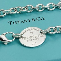 """18"""" Please Return To Tiffany & Co Sterling Silver Oval Tag Necklace - $495.00"""