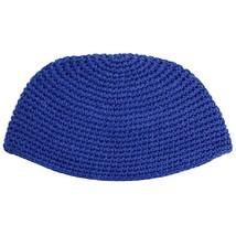 Frik Kippah Navy Blue Crochet Thick Knit Judaism Israel 21 cm