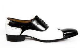 Men Hand Made Anastasio Resurrection Black & White Spectator Leather Shoes image 2