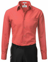Berlioni Italy Men's Long Sleeve Solid Regular Fit Coral Dress Shirt - XL image 2