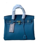 35cm Pebbled Italian Leather Lock and Key Birkin Style Handbag Satchel 1... - $159.95