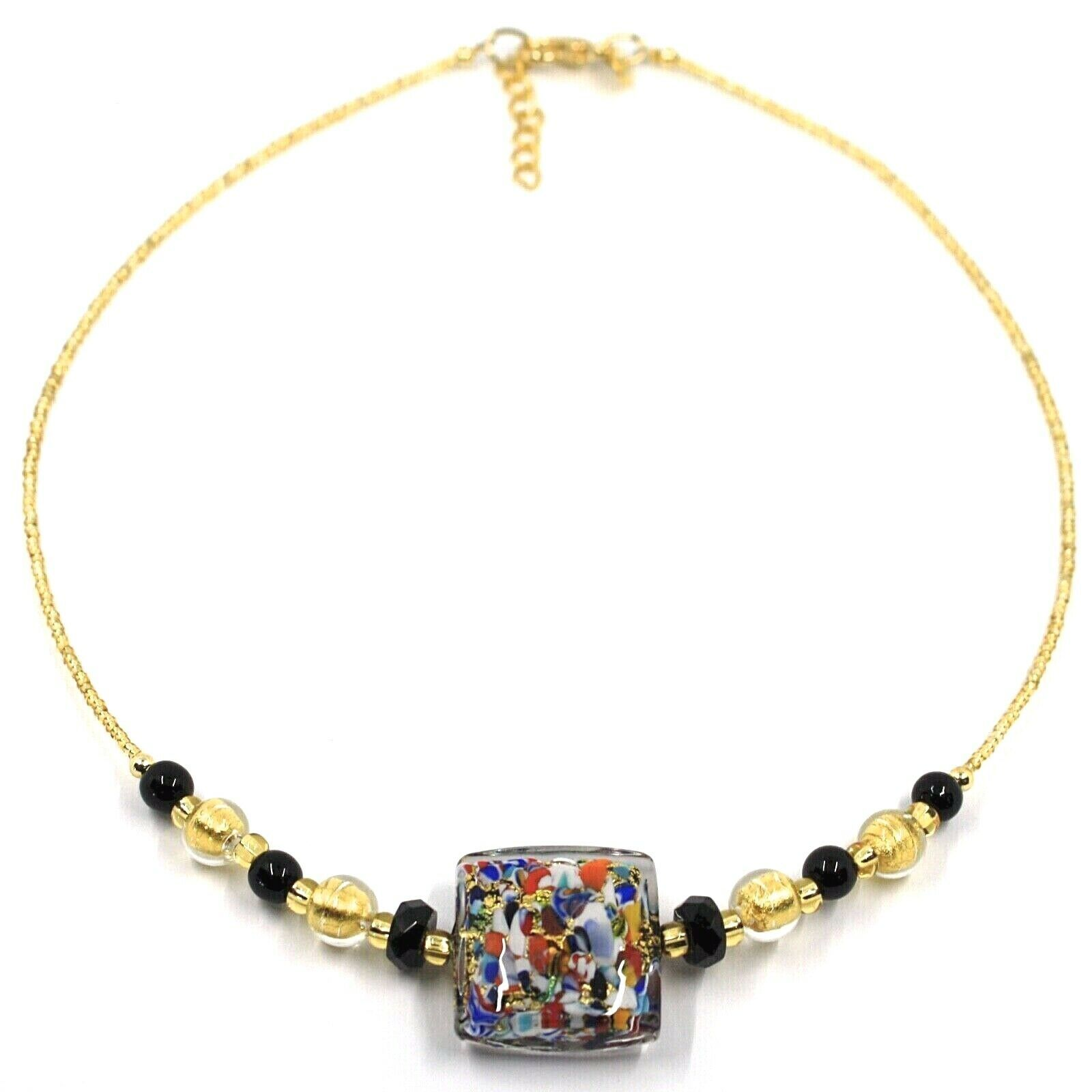 NECKLACE MACULATE MULTI COLOR MURANO GLASS BIG SQUARE, GOLD LEAF, ITALY MADE
