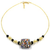 NECKLACE MACULATE MULTI COLOR MURANO GLASS BIG SQUARE, GOLD LEAF, ITALY MADE image 1