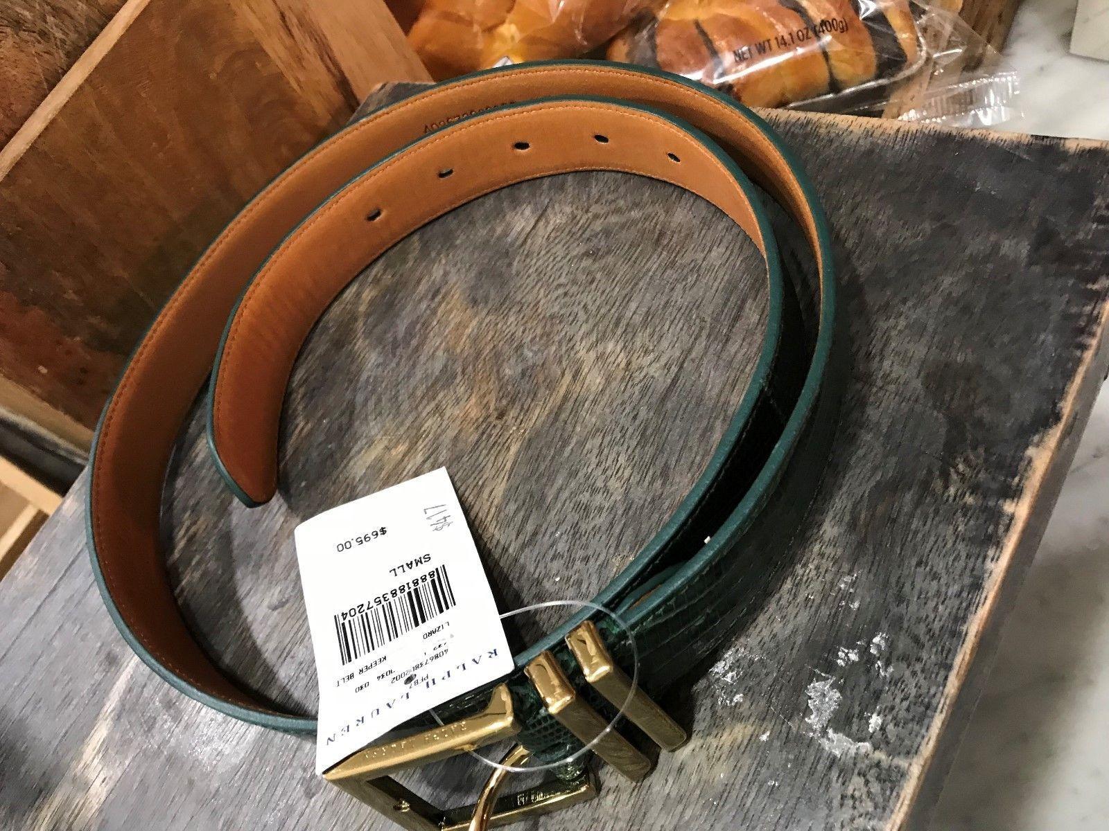Ralph Lauren Collection Womens Geniune Lizard Double Keeper Belt Msrp 695 Green