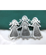 Sisters Pin Brooch Pewter Artisan Handcrafted Signed CYNTHIA WEBB Three ... - $5.49