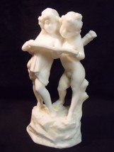 "5 3/4"" PARIAN ANTIQUE BISQUE BOY CUPID WITH GIRL READING BOOK FIGURINE - $44.55"