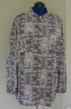 Calvin Klein Woman Top Tunic 2X Plus Animal Print CK Roll Tab Sleeves NWT - $39.95