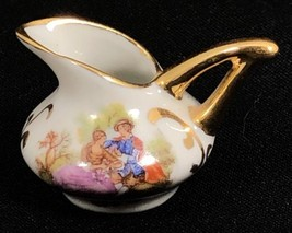 Limoges France Miniature Gold Handled Pitcher Porcelain Courting Couple Mini  - $24.70