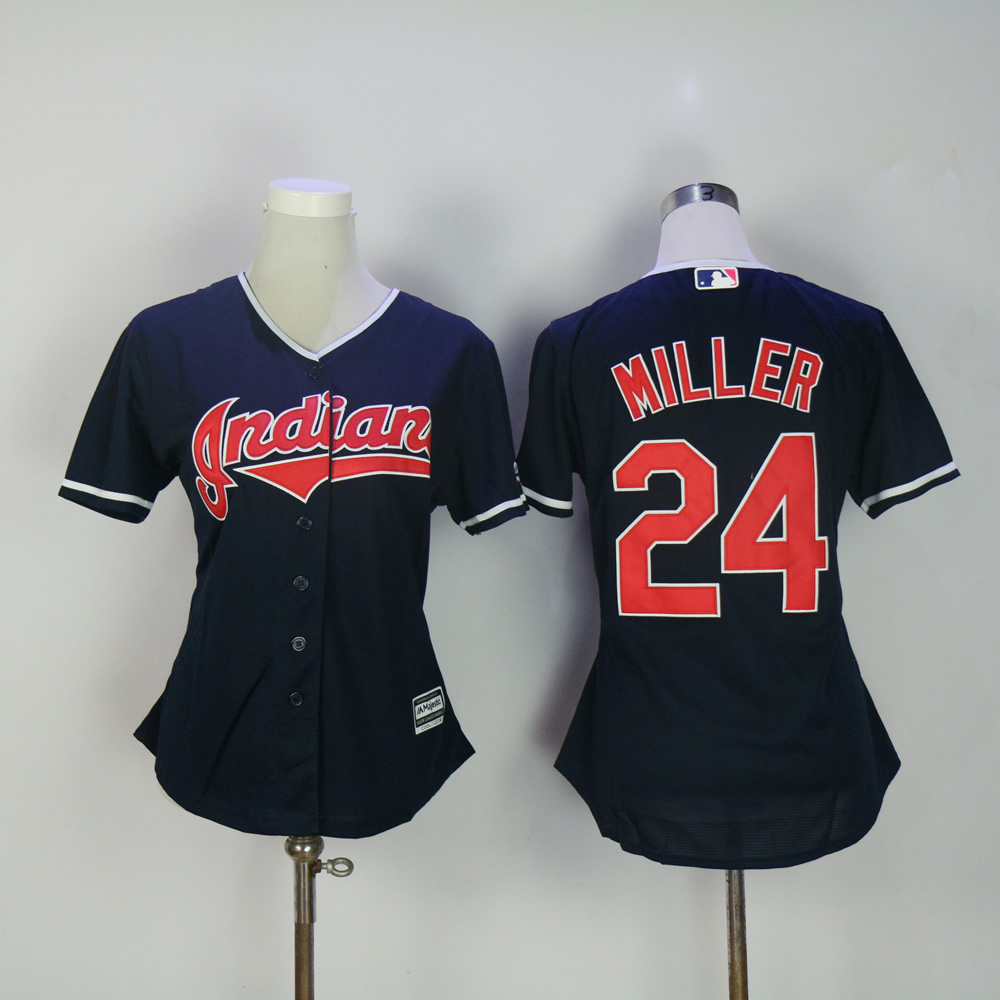 Women's Cleveland Indians #24 Andrew Miller Navy Blue Stitched Baseball Jersey