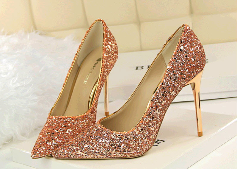 Primary image for pp340 Luxury sequined pointy pumps, PU leather, US Size 4-8.5, champion