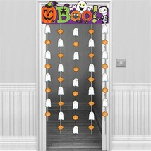 Halloween Family Friendly Door Curtain BOO Banner and Foil Shapes 1.95cm... - $12.64