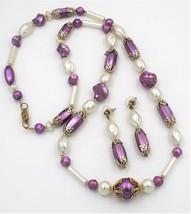 Vintage Amethyst Purple Cream White Bead Necklace Pierced Earring Demi Set - $15.83