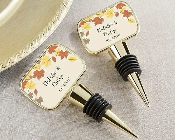 Personalized Autumn Fall Leaf Epoxy Bottle Stopper Bridal Shower Wedding Favor