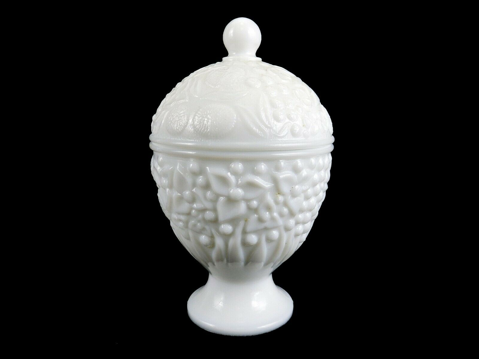 Primary image for Avon Milk Glass Covered Candy Dish #5, Egg Shaped On Pedestal Base, Vintage 60s