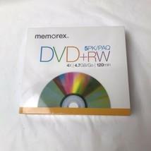 Memorex DVD+RW Rewritable 5pkn 4.7GB 120min NEW  - $10.88