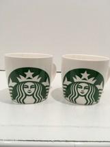 Pair 2 Starbucks 14 oz Ceramic Coffee Tea Mug Cup White Green Siren Merm... - $15.00