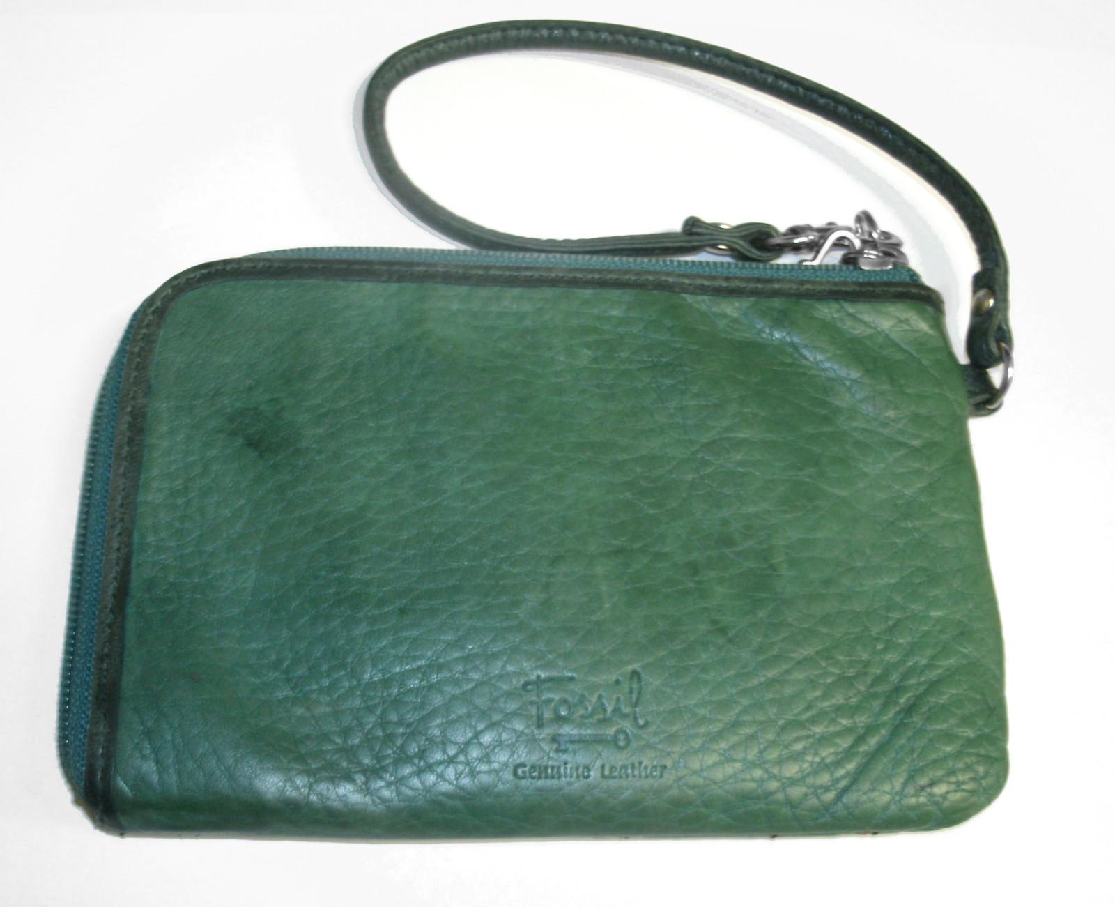 Fossil Leather Wristlet Birdhouses Green Applique Corner Zip Card Wallet Key