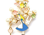 Fairy Tale Girl Alice Pearl Tree Flower Bunny Key Colourful Lovely Brooch Pin