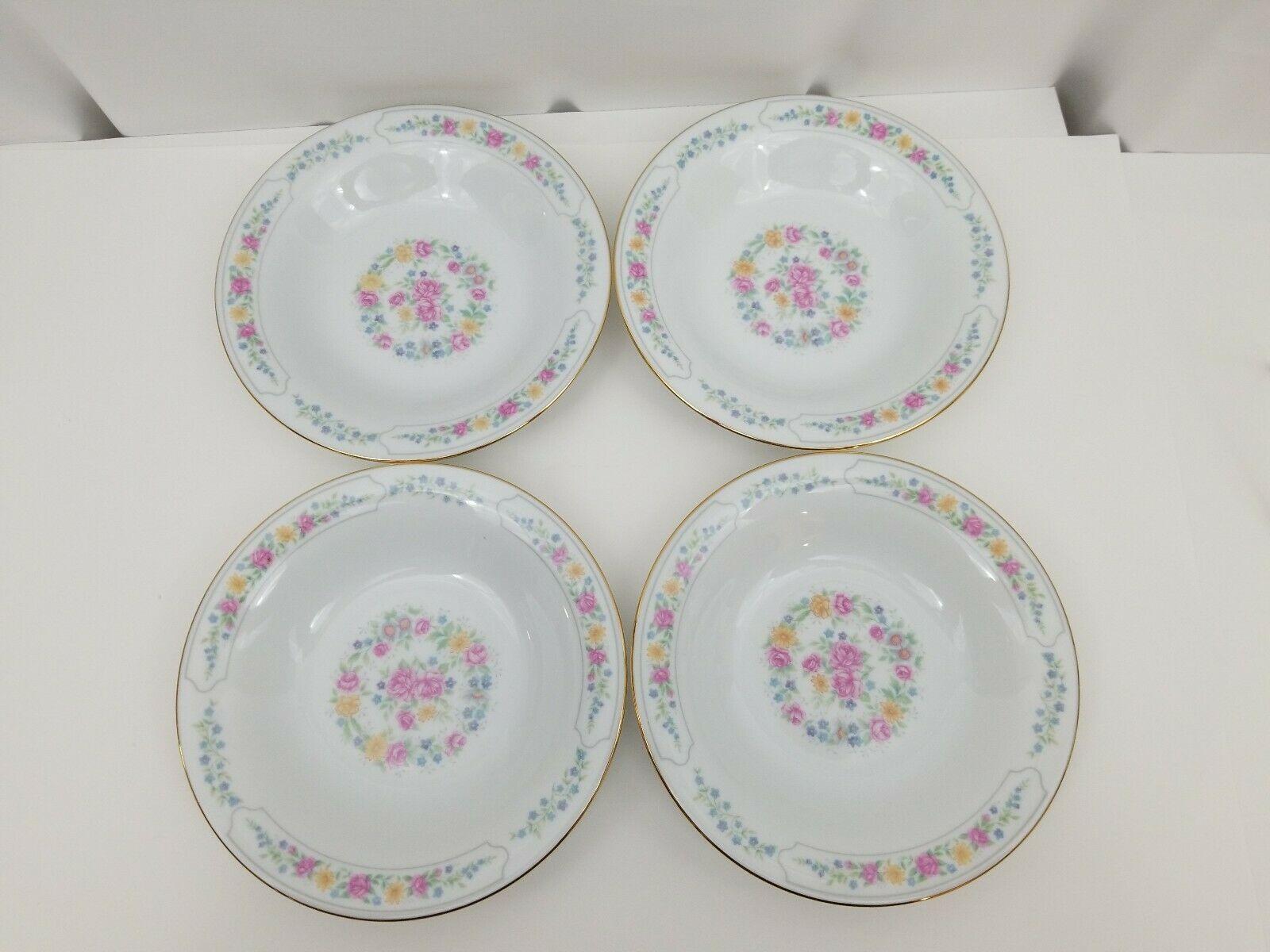Liling Fine China Cereal Soup Bowls Set of 4 Yung Shen White Roses Keepsake 8.25