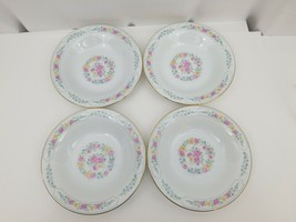 Liling Fine China Cereal Soup Bowls Set of 4 Yung Shen White Roses Keeps... - $24.18