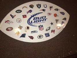 Vintage NFL 32 Team Bud Light Beer Tin Metal Tacker Sign Budweiser Football - $95.61