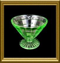 "Hocking ""Block Optic"" Green Champagne Sherbet Goblet Deptression Glass c... - $8.00"