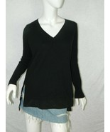Vince Sweater Black Wool Cashmere Jumper 100% Silk Underlay Size X-Small - $32.54