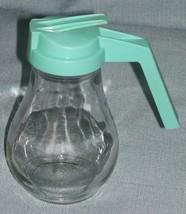 Vintage GEMCO GLASS 4-3/4'' SYRUP/CREAMER/HONEY DISPENSER Turquoise Plas... - $6.95