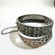 Antique Victorian Depose' Sterling Silver Aesthetic floral Cuff Bracelet... - $197.99